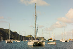 Christmas day at admiralty bay. Yachts anchored at a popular destination in the windward islands royalty free stock photo