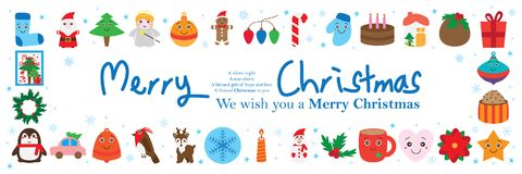 Christmas day around banner. This illustration is design and drawing Christmas elements around the banner on white color background stock illustration
