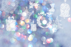 Christmas day backgrounds with blue bokeh backgrounds. Stock Images
