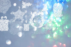 Christmas day backgrounds with blue bokeh backgrounds. Royalty Free Stock Photography