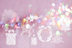 Christmas day backgrounds with pink bokeh backgrounds. Stock Images