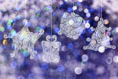 Christmas day backgrounds with purple bokeh backgrounds. Stock Photos