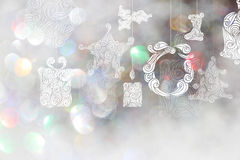 Christmas day backgrounds with white bokeh backgrounds. Stock Photography