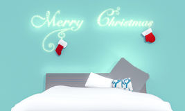 Christmas day in bed room. Bed room in chistmas day. Decorate with red  sock, red  glove`s santa claus and light look warm in bed room. 3D render Stock Photos