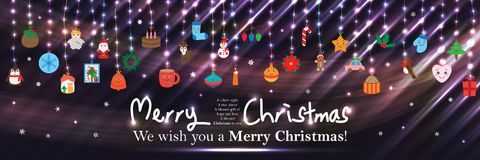 Christmas day bright banner effect RGB. This illustration is design Christmas day with hang element in effect and banner size. RGB stock illustration