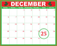 Christmas Day Calendar. A December calendar showing the 25th prominently vector illustration