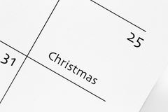 Christmas day calendar. On a white background Royalty Free Stock Photo