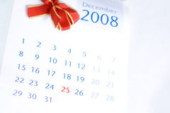 Christmas day on calendar Stock Image
