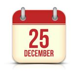 Christmas Day Calendar Icon. 25 December. Vector Royalty Free Stock Photos