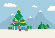 Christmas day with Christmas tree and presents Royalty Free Stock Photography