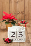 Christmas Day Date On Calendar. December 25 Royalty Free Stock Image