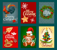 Christmas Day festive poster and greeting card set. Christmas Day festive poster and card set with xmas tree decorated with bauble, holly berry wreath with Stock Photos