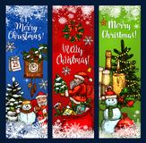 Christmas greeting banner with Xmas sketches. Christmas Day greeting banner with Xmas tree and gift sketches. Santa Claus and snowman with presents, candle and Stock Photos
