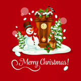 Christmas Day greeting card with snowman and clock Royalty Free Stock Photography
