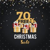 Christmas day and Happy New Year discount sale illustration banner. 70% off shopping cart design. Black and golden Christmas day sale design Stock Illustration