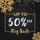 Christmas day and Happy New Year discount sale 50% off  illustration banner. Black and golden Christmas day sale  design Royalty Free Stock Photo