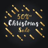Christmas day and Happy New Year discount sale 50% off  illustration banner. Royalty Free Stock Images
