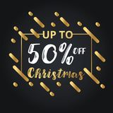 Christmas day and Happy New Year discount sale 50% off  illustration banner. Royalty Free Stock Photos