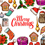 Christmas Day holiday poster with xmas sketches Stock Photos