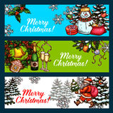 Christmas Day, New Year festive banner set. Christmas holidays banner with sketched Santa Claus, snowman and gifts. Holly berry wreath with gift box, bell Royalty Free Stock Photos