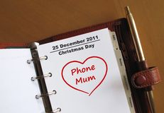 Christmas Day in an organizer Stock Images