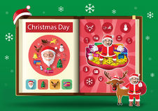 Christmas day set on notebook page vector illustration Royalty Free Stock Images