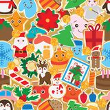 Christmas day sticker gold giltter decor seamless pattern. This illustration is design sticker with Christmas day with gold glitter circle decoration in gold Royalty Free Stock Photography