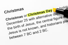 Christmas day text highlighted in yellow Stock Image