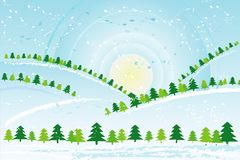 Christmas day,vector. Christmas day in the forest,vector illustration Stock Images