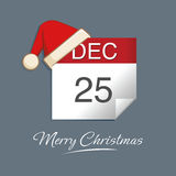 Christmas Day. Vector illustration of calendar 25th December Royalty Free Stock Images