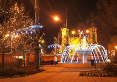 Christmas in Debrecen. City of Debrecen in Christmas, with the Reformed Church Royalty Free Stock Photos