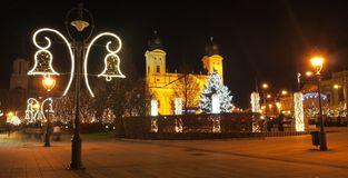 Christmas in Debrecen. City of Debrecen in Christmas, with the Reformed Church Royalty Free Stock Images