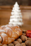 Christmas decaration. Christmas decoration with cake and nuts Stock Photos