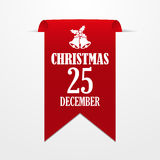Christmas in 25 december. Red ribbon on a gray background Royalty Free Stock Photo
