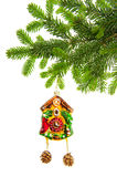 Christmas deco, clock bauble, tree branch Stock Image