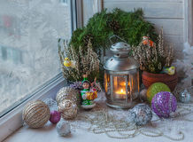 Christmas deco   in the   winter window Stock Image