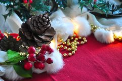 Christmas Decoartion with Pine Cone on Background Stock Photo