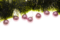 Christmas decor. Christmas-tree decor isolated on white. Copy space for your text stock image