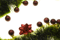 Christmas decor. Christmas-tree decor isolated on white. Copy space for your text royalty free stock photo