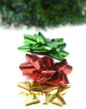 Christmas decor. Christmas-tree decor isolated on white stock photos