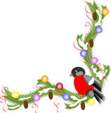 Christmas decor. With fir tree and bullfinch Royalty Free Stock Photo