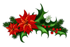 Christmas decor. Christmas traditional decor with leaves and berries of holly and euphorbia vector illustration