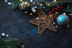 Christmas decor background with place for text. Christmas background with a festive decor, fir tree and place for text stock photos