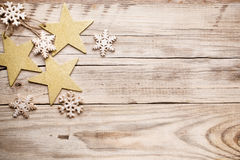 Christmas decor. Christmas backgrounds. Christmas decor on the wooden background Stock Photography