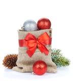 Christmas decor bag Royalty Free Stock Photos