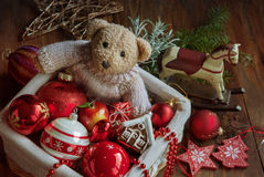 Christmas decor with bear toy Stock Images