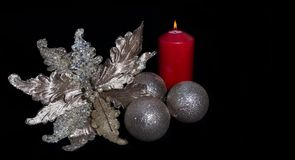 Christmas decor on black background Stock Photos