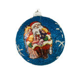 Christmas decor. Blue ball with santa claus on it Royalty Free Stock Photography