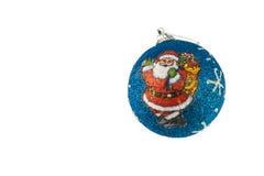 Christmas decor. Blue ball with santa claus on it Royalty Free Stock Photos