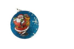 Christmas decor. Blue ball with santa claus on it Stock Photo
